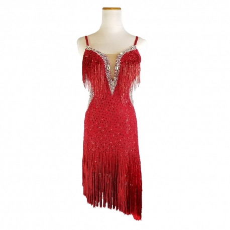 0fa75d25d55 Scarlet Red Latin Dress - Navaleé Couture by Ballroom Dancing Fashions